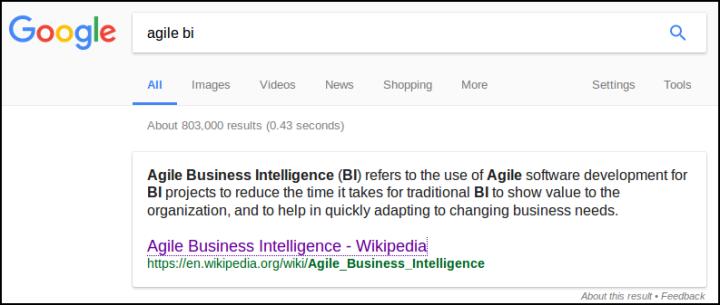 Ágil e BI, segundo o Google: ferramentas?!...